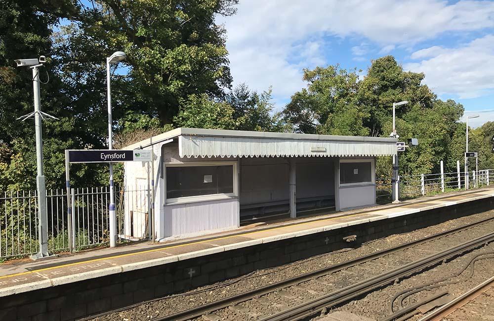 Exterior view of passenger waiting room at Eynsford Station