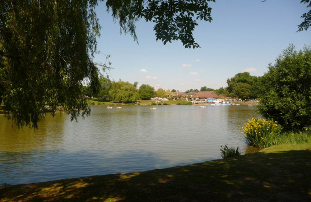 View of Swanley Park lake and café
