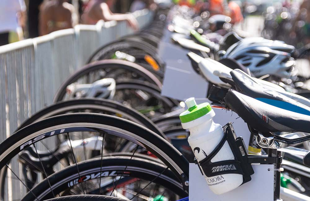 image of racked bicycles at a sports event