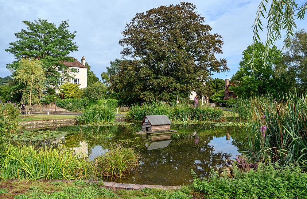 View of the village pond in Otford, Kent