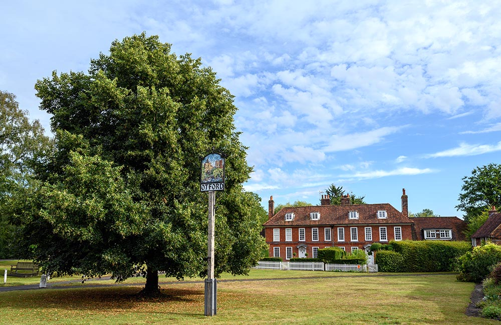 View of the The sign on Otford village Green, Kent